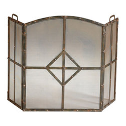 Raw Steel Rustic Fireplace Screen - *Lincoln Fire Screen