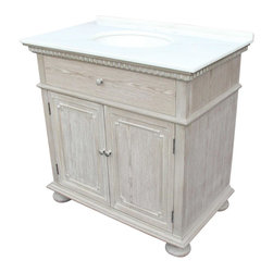 "EuroLux Home - New 36"" Single Sink Chest White/Cream Marble - Product Details"