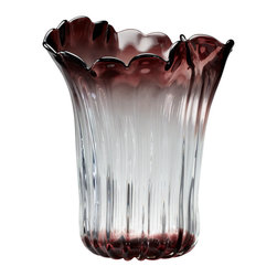 Kathy Kuo Home - Miranda Organic Sculpted Clear Red Glass Decorative Vase - The art and craft of glass is celebrated in his ultra feminine vase. Scalloped smoky purple edges which fade into a clear body and then return to purple at the base evoke the delicate wonder of flower petals, while an asymmetrical edge echoes natures own variations and shapes.  Contemporary or traditional spaces will find a welcome addition of gentle beauty in this piece.