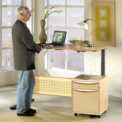 Jesper - Jesper Sit and Stand Height Adjustable Desk - Maple Multicolor - 7190105-MP - Shop for Desks from Hayneedle.com! Sometimes on a Friday night after work we really do mean it when faced with a roomful of occupied chairs we say we'd rather stand. Sitting all day can be tedious - and it can be hard on the body. In fact studies show standing relieves pressure on discs in your back 40 percent more than sitting - but you don't have to go to a party every night to feel relief. The Sit and Stand Height Adjustable Desk - Maple is designed to work for your body as you're working through the day. Motorized legs lift the desktop from a seated height to a standing height any time you feel the need to stretch. This refreshing modern computer desk is crafted from durable wood veneers and engineered wood with solid wood edging - as well as a recessed perforated wood modesty panel - finished in a clean warm maple shade. The spacious desktop is ergonomically curved to provide the best arm support while you're working at a computer or laptop. Below motorized steel legs finished in an Anthracite black move from 25H inches to 52H inches with a quick push of a button. Alternating between sitting and standing positions while working can reduce the discomfort and possible injuries caused by staying in a stationary position for long periods of time. Available Sizes: 47W x 36D x 25-52H inches 63W x 39D x 25-52H inches 75W x 41D x 25-52H inches