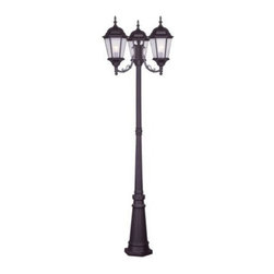 Livex Lighting Inc - Livex Hamilton Outdoor 3 Head Post Bronze -7553-07 - Livex products are highly detailed and meticulously finished by some of the best craftsmen in the business