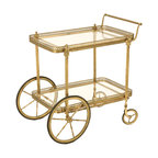 "Vintage French Brass Tea or Bar Cart - ""Would you like some tea, madame?"" is what you'll soon be hearing with this vintage brass tea cart from 20th century France. It's great for serving tea, cocktails and dessert. Your guests are sure to be blown away."
