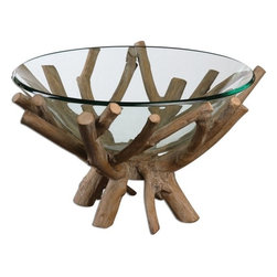 Uttermost - Grace Feyock Thoro Wood Bowl - Natural wood base with a light gray glaze holds a clear glass bowl.