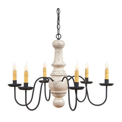 Irvin's Tinware - Maple Glenn Wooden Chandelier in Americana Colors, Vintage White - The warm, welcoming textured finish adds country elegance to the Maple Glenn Chandelier, destined to become a homespun treasure.