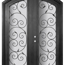 "Orvieto 72x96 Arch Top Forged Iron Double Door 14 Gauge Steel - ""SKU#    PHBFOATDR4Brand    GlassCraftDoor Type    ExteriorManufacturer Collection    Buffalo Forge Steel DoorsDoor Model    OrvietoDoor Material    SteelWoodgrain    Veneer    Price    8665Door Size Options      $Core Type    one-piece roll-formed 14 gauge steel doors are foam filled  Door Style    Arch TopDoor Lite Style    Arch Lite , Full LiteDoor Panel Style    Home Style Matching    Mediterranean , Victorian , Bay and Gable , Plantation , Cape Cod , Gulf Coast , ColonialDoor Construction    Prehanging Options    PrehungPrehung Configuration    Double DoorDoor Thickness (Inches)    1.5Glass Thickness (Inches)    Glass Type    Double GlazedGlass Caming    Glass Features    Insulated , TemperedGlass Style    Glass Texture    Clear , Glue Chip , RainGlass Obscurity    Door Features    Door Approvals    Wind-load RatedDoor Finishes    Three coat painting process"