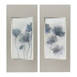Uttermost - Prussian Grace Floral Art, Set of 2 - This floral pair looks as light as air, and is as lively as it is elegant. The linen and subtly silver-lined frames enhance the prints to make a refined, not fussy, statement in your decor.