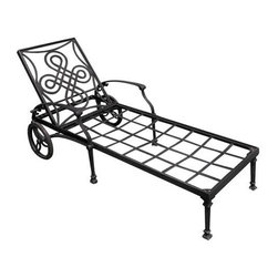 Vienna Cast Aluminum Chaise Lounge Chair - Relax the day's worries away by spending the evening in the Vienna Cast Aluminum Chaise Lounge Chair. This cast aluminum chair is designed for use with a cushion and features wheels for easy moving.