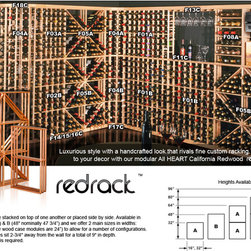 Red Wood Wine Racks - This California Redwood Modular Wine Rack system is ideal for the wine lover who wants a customized wine cellar at a great price!
