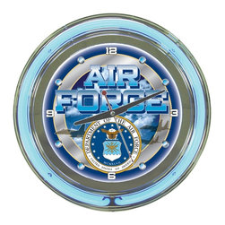 Trademark Global - Round Neon Wall Clock w United States Air For - Pay tribute to the United States Air Force and everyone who has every served our country with this striking neon wall clock, featuring the U.S. Air Force seal on the clock's face and two bright blue and white neon rings. The clock is a great gift idea, and would easily enhance your rec room or bar area decor. Full color logo on the clock face. Double ring of neon (outside ring coordinates with screen printed logo and inside ring illuminates the clock face). Battery operated quartz clock mechanism (battery included). 110 Volt power supply for power to the neon lights included. High polished chrome finish molded resin housing. Size: 14 in. Dia. (7 lbs.)
