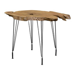"Palecek - Driftwood Teak Side Table - The captivating Driftwood Teak side table exudes a striking visual impact. Atop minimal iron tripod legsthe piece's rustic hardwood top mesmerizes in bold organic form. 30""W x 22""D x 24""H; Colorgrain and size will vary; Knotscracks and natural holes may be present; Wood may continue to crack over time; No two pieces alike"
