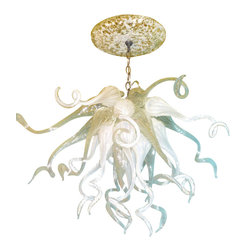 """Primo Glass - Blown Glass Chandelier - White Chandelier - Art Glass Lighting - Chandelier - Please note that this sale is for a one of a kind custom """" to be built """" chandelier that will have slight differences from the chandelier shown in the listing photos. We handcrafted this chandelier using white and clear blown glass pieces that were made in our glass shop in the here in the USA. This stunning chandelier is sure to brighten any space. The lighting source consists of a standard medium base ( 100 watt max ) light socket in the center of the fixture. Chandelier will be shipped with a 60 watt dimmable LED light bulb that will last for 20,000 hours or longer, and also includes a custom made matching glass ceiling medallion. Primo Glass chandeliers are high quality collectible works of functional art, signed by the artists, and come with a certificate of authenticity."""