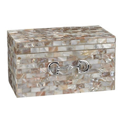 Sterling Industries - Mother Of Pearl Box With Snaffle Bit Accent - MOTHER OF PEARL BOX WITH SNAFFLE BIT ACCENT