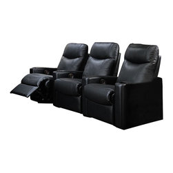 Coaster - Coaster Hardwood Three Seat Leather Recliner Theater Chair Set in Black - Coaster - Home Theater Seating - 7537