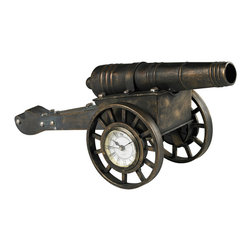 Sterling Industries - Cannon Desk Clock - Cannon Desk Clock in Blackened Iron by Sterling Industries