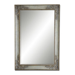 """Grace Feyock - Grace Feyock Santerno Floor Mirror X-52821 - This stately mirror is finished in golden ivory with a lightly burnished gray wash and antiqued gold leaf details. Mirror has a generous 1 1/4"""" bevel. May be hung either horizontal or vertical."""