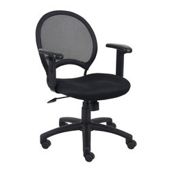 """Boss Chairs - Boss Chairs Boss Mesh Chair with Adjustable Arms - Open mesh back designed to prevent body heat and moisture build up. Solid metal back frame with a ballistic nylon wrap. Breathable mesh fabric seat with ample padding. Adjustable height arm rests with soft polyurethane pads. 25"""" nylon base. Adjustable tilt tension control. Hooded double wheel casters. Upright locking position. Pneumatic gas lift seat height adjustment."""