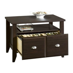Sauder - Shoal Creek Utility Stand in Jamocha Wood Fin - Drawer with metal runners and safety stops holds letter-size hanging files. Open shelf provides additional storage. Patented T-lock drawer system. Made of engineered wood. Assembly required. 35 in. W x 21 in. D x 24 in. H