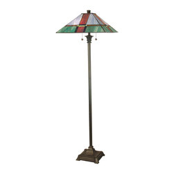Dale Tiffany - Dale Tiffany TF12212 Tranquility Mission Floor Lamp - Shade: Hand Rolled Art Glass