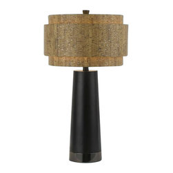 Candice Olson - Candice Olson Aviva Contemporary Table Lamp X-LT-7248 - From the Aviva Collection, this Candice Olsen contemporary table lamp features modern materials and retro inspired flair. The varied shape of the cork-finished diffuser compliments the sleek Black shape of the body. This design also features both Chrome and silver accents for added visual interest.