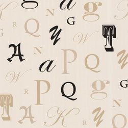 Beacon House - Zinc Manuscript Wallpaper - It's your place, so do exactly what you font! This elegantly amusing wallpaper features subtle suede and opalescent touches to lend a letter-perfect accent to your decor.
