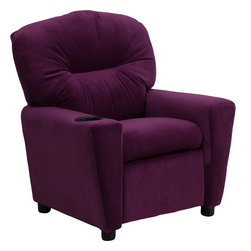 Flash Furniture - Contemporary Purple Microfiber Kids Recliner with Cup Holder - Kids will now be able to enjoy the comfort that adults experience with a comfortable recliner that was made just for them! This chair features a strong wood frame with soft foam and then enveloped in durable microfiber upholstery for your active child. Choose from an array of colors that will best suit your child's personality or bedroom. This petite sized recliner will not disappoint with the added cup holder feature in the armrest that is sure to make your child feel like a big kid!
