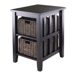 Winsomewood - Morris Side Table With 2 Foldable Baskets - Style and practicality, together at last! If you need an end table with storage options, then this one fits the bill. A mission frame houses foldable corn husk baskets for your tissues and magazines.