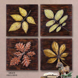 "13470 Fall Leaves, Set/4 by Uttermost - Get 10% discount on your first order. Coupon code: ""houzz"". Order today."