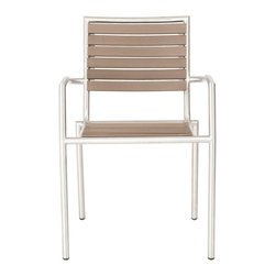 Eurostyle - Nathan Arm Chair (Set Of 4)-Tpe/Ss - Simulated teak slats, solid