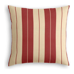 Red Racing Stripe Custom Pillow - The every-style accent pillow: this Simple Throw Pillow works in any space.  Perfectly cut to be extra fluffy, you'll not only love admiring it from afar but snuggling up to it too!  We love it in this barn red & tan woven racing stripe. a classic alternative to the traditional awning stripe that can work in any decor.
