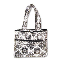 """Trend Lab - Diaper Bag - Versailles Black/White Tulip Tote - Hit the road equipped and in style with this Versailles Black & White Tote Bag by Trend Lab. Laminated bag features a black and white filigree print throughout the outside body with a black and white diamond print inside. Outside of the bag has two side bottle pockets, a front zippered pocket and a wide Velcro closure pocket on the back. Inside, four pockets and large mesh divider keep all your travel necessities organized. Snap closure keeps inside contents secure. Removable, coordinating changing pad included. Bag measures 14"""" x 12"""" x 6"""" with 22"""" straps."""