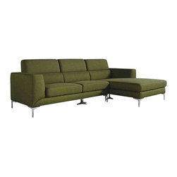 VIG Furniture - VIG Furniture 1364C Divani Casa Verdant Modern Green Fabric Sectional Sofa - The 1364C Divani Casa Verdant Collection features green fabric upholstery with stainless steel finish legs. The sectional sofa also features a oversized right facing chaise.