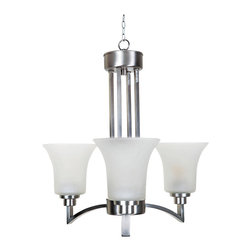 YOSEMITE HOME DECOR - 3 Lights Chandelier Satin Nickel Finish - - Satin Nickel Finish Etched Glass/Shade