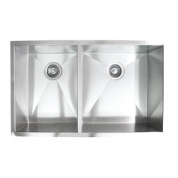 "Ariel - 32 Inch Stainless Steel Undermount 40/60 Double Bowl Kitchen Sink - Providing the feel of a professional kitchen, this 16 gauge sink features spacious 40/60 wells with zero radius corners. Exterior Dimensions 32"" x 19"" x 10""."