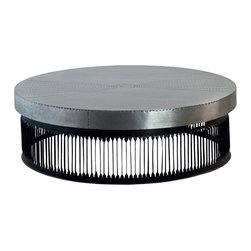 Kathy Kuo Home - Jalk Industrial Style Masculine Studded Metal Round Coffee Table - S - This impressive round coffee table is a shining example of industrial style and modern function. The polished metal top has a studded, eye-catching prism design. The circular base is crafted from slatted black metal for an open yet sturdy feel.