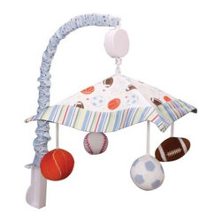 Trend Lab Little MVP Mobile - Encourage eye tracking and sound perception skills, or just let your little one get a relaxing nap with the Trend Lab Little MVP Mobile. The mobile canopy features a scatter print of footballs, basketballs, baseballs and soccer balls, framed by a varsity stripe print in a range of contemporary colors, all of which coordinate with the rest of the Trend Lab Little MVP line. Four stuffed sports balls are suspended from decorative white ribbon and slowly rotate to Brahm's Lullaby.About Trend LabBegun in 2001 in Minnesota, Trend Lab is a privately held company proudly owned by women. Rapid growth in the past five years has put Trend Lab products on the shelves of major retailers, and the company continues to develop thoroughly tested, high-quality baby and children's bedding, decor, and other items. With mature professionals at the helm of this business, Trend Lab continues to inspire and provide its customers with stylish products for little ones. From bedding to cribs and everything in between, Trend Lab is the right choice for your children.