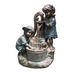 Alpine Fountains - Old Fashioned Pump w LED Lights - Made of Polyresin and Stone Powder. 1 Year Limited Warranty. Assembly Required. Overall Dimensions: 25 in. L x 20 in. W x 34 in. H (40.22 lbs)Let the flow of water and whimsical detail of our polyresin fountains add a fanciful and elegant feel to any of your garden spaces.