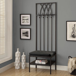 None - Monarch 72-inch Black Hammered Metal Entry Bench - Decorate your entryway in sophisticated,inviting style with this unique bench,with four double coat hooks and a shelf for plentiful storage. Finished with black,this elegant hammered metal bench set features a black leatherette cushion for comfort.