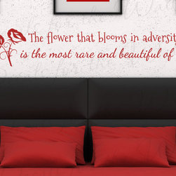 Decals for the Wall - Wall Decal Art Sticker Quote Vinyl Lettering Large Mulan Flower that Blooms B92 - This decal says ''The flower that blooms in adversity is the most rare and beautiful of all.''