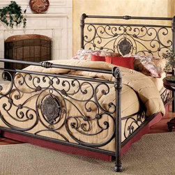 Hillsdale Furniture - Mercer Panel Bed w Shield Decor Headboard & F - Choose Bed Size: KingWith graceful curved designs this Antique Brown Mercer Bed with Shield Décor Head and Footboard has a true feel from the past. It includes a sturdy metal frame and side rails, and the head and footboard have a central shield decoration giving the impression this bed was made for royalty. * Side rails included. Mattress and nightstands not included. Metal boards & rails. Antique Brown finish. Boards have central shield decoration. Queen: 63.5 in. L x 6.5 in. W x 56.5 in. H. King: 81.5 in. L x 6.5 in. W x 56.5 in. HStunning in the master suite, the Mercer bed features a rich Antique Brown finish intricate and flowing lines and detailed elegant castings. Subtle sleigh silhouette give the Mercer traditional and lasting appeal.