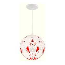Folk Birds Period Lighting - Add some whimsy to any room with a wonderful folk design depicting birds.  The bold red against the white surface make this fixture particularly stunning and beautiful.  This is a limited edition and has been signed by the artist.