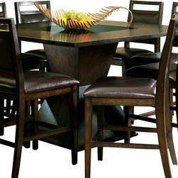 Steve Silver Furniture - Steve Silver Malbec Counter Height Table - Add some modern flair to your home's decor with the Malbec Counter Height Dining Table with Black Glass Insert. This counter height dining table with its unique base has a rich espresso finish and black glass insert on the table top.