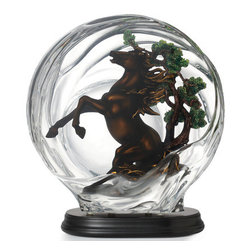 Franz Porcelain - FRANZ PORCELAIN COLLECTION Horse And Metal Pine Tree Lucite Sculpture FL00089 - Finished In Lead Free Glazes * Hand Painted By Franz Porcelain Artisans * FDA Approved Food/Plant Safe * New In The Original Box