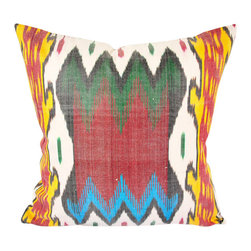 "Marco Polo 20"" Ikat Pillow Cover - P-A465 - Ikat pillow cover constructed from hand woven Ikat fabric from Uzbekistan. Accessorize your furniture with this adventurous version of traditional Ikat. This bold patterned pillow would pair well with other bold patterned pillows, as well as solid pillows of similar colors. Colors include green, red, yellow, teal, and off-white."