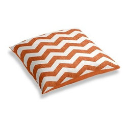 Orange & White Chevron Custom Floor Pillow - A couch overflowing with friends is a great problem to have.  But don't just sit there: grab a Simple Floor Pillow.  Pile em up for maximum snugging or set around the coffee table for a casual dinner party. We love it in this graphic chevron in a washed pumpkin orange and ivory on lightweight linen that adds a punch of color to the contemporary home.