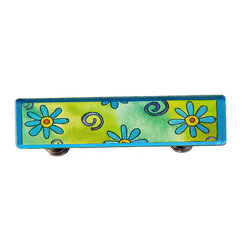 Paper Scissors Rock - Blue Daisy Drawer Pull - Our Drawer Pulls are exclusively available on Houzz.com. These colorful accents will brighten up any room, cabinet or piece of furniture. Each one starts with an original watercolor by artist Pamela Corwin, which is reproduced and sandwiched in between two durable layers of durable acrylic and mounted on a chrome finished base.  They are perfect dressing up a bureau, cabinet or even in the bathroom. Standard 8-32 screws included