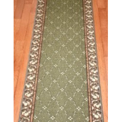 "Dean Flooring Company - Washable Non-Skid Carpet Rug Runner - Trellis Green (5') - Washable Non-Skid Carpet Rug Runner - Trellis Green (5') : Washable non-skid carpet rug runner by Dean Flooring Company. Matches Dean Flooring Company stair treads. Polypropylene pile with a machine washable non-skid latex backing (wash on delicate in cold water, line dry). Also easy to spot clean or vacuum. Reduces noise. Reduces wear and tear floors. Warm and comfortable. Approximately 26"" x 60""."