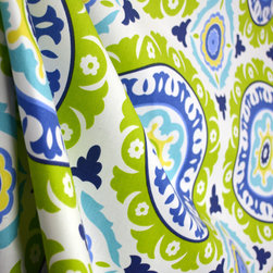 Waverly - Solar Flair Lime Suzani Medallion Drapery Fabric By The Yard - Large Suzani medallions in lime green, capri and indigo blue create the pattern on Solar Flair Lime Indigo.  This fabric is perfect for pillows, bedding or window treatments.