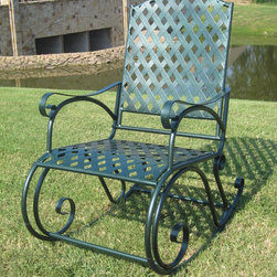 International Caravan - International Caravan Diamond Lattice Outdoor Rocking Chair - Relax in the shade or bask in the sun with this green outdoor rocking chair. The solid iron is formed into a beautiful diamond lattice pattern with a hammered finish in green. The fluid rocking motion allows for hours of outdoor enjoyment.