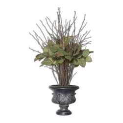 Sweet Salal Evergreen 4.2 ft. Silk Plant - Featuring leaves with the realistic look of the Salal evergreen plant, the Sweet Salal Evergreen 4.2 ft. Silk Plant makes a beautiful addition to your home. Highlighted with natural twig enhancements, the silk plant is potted in an aged black, footed urn. It's made from polyester wood polyresin. Dimensions: 28W x 20D x 50H inches.About UttermostThe mission of the Uttermost Company is simple: to make great home accessories at reasonable prices. This has been their objective since founding their family-owned business over 30 years ago. Uttermost manufactures mirrors, art, metal wall art, lamps, accessories, clocks, and lighting fixtures in its Rocky Mount, Virginia, factories. They provide quality furnishings throughout the world from their state-of-the-art distribution center located on the West Coast of the United States.