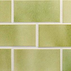 """Glass Tile Oasis - Moss Green 3"""" x 6"""" Green Tapestry Handmade Tile Glossy Ceramic - Tile Size: 3"""" x 6"""""""
